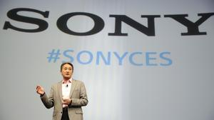 Sony chief Kazuo Hirai speaks during a news conference at the International CES in Las Vegas (AP)