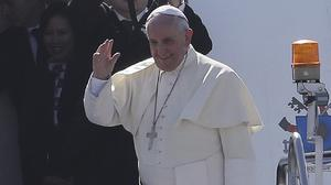 Pope Francis bids farewell to the Philippines before boarding his flight to Rome (AP)