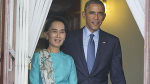 Barack Obama with Burmese opposition leader Aung San Suu Kyi. (AP)