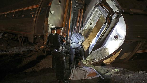 Emergency personnel at the scene of the train wreck in Philadelphia. (AP)