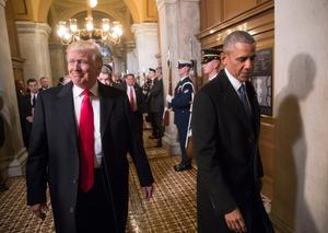 President-elect Donald Trump, left, and President Barack Obama arrive for Trump's inauguration ceremony at the Capitol in Washington yesterday. AP Photo/J. Scott Applewhite, Pool