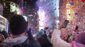 Revellers celebrate the New Year in Times Square, New York (Craig Ruttle/AP)