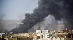 A Saudi-led air strike hit a site believed to be a munitions store in Sanaa, hours before a ceasefire was due to begin (AP)