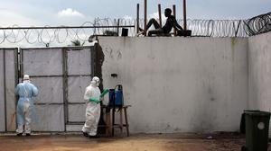 Health workers at the Island Clinic Ebola isolation and treatment centre in Monrovia. (AP)