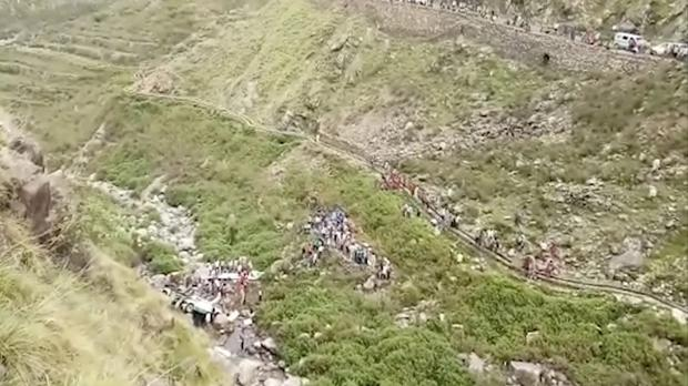 The scene of a deadly bus accident in Uttarakhand's Paudi Garhwal district (KK Production via AP)