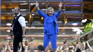 Democratic presidential candidate Hillary Clinton waves at the audience as she leaves the stage after taping the Ellen DeGeneres Show (AP)