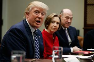 President Donald Trump, with Cape Cod Five Cents Savings Bank CEO Dorothy Savarese and National Economic Council Director Gary Cohn, at a meeting with leaders from small community banks. Photo: AP/Evan Vucci