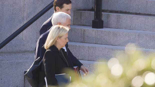 Homeland Security Secretary Kirstjen Nielsen, Vice President Mike Pence and White House Senior Adviser Jared Kushner walk up the steps of the Eisenhower Executive Office Building to a meeting with staff members of House and Senate leadership (Alex Brandon/AP)