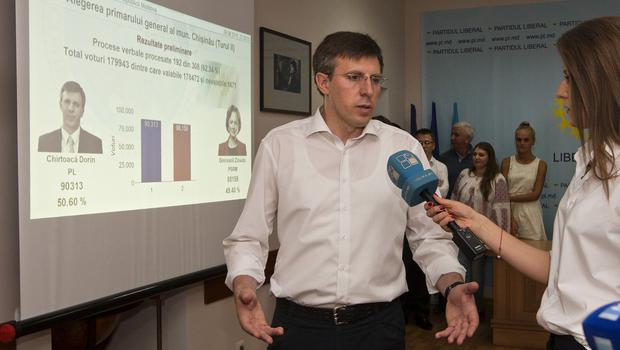 Dorin Chirtoaca capital speaks to media in the Moldova capital Chisinau (AP)