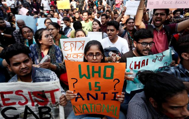 Students in Mumbai protest against the citizenship law