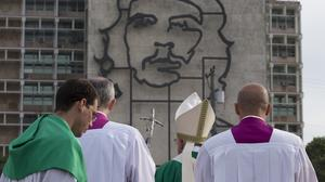 Pope Francis holds his pastoral staff as he arrives to celebrate Mass at Revolution Plaza in Havana, Cuba (AP)