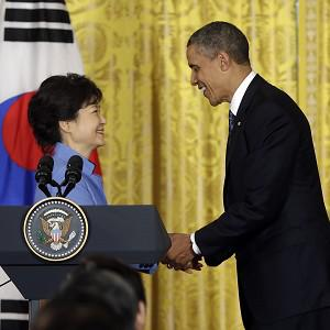 Barack Obama and Park Geun-Hye shake hands at the White House (AP/Pablo Martinez Monsivais)