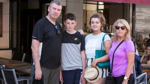 NEAR-MISS: Former Irish international Peter Eccles with his wife Kathleen, son Ciaran and daughter Grainne in Nice. Photo: Kyran O'Brien