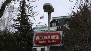 The newly-unveiled sign renaming the square where the Russian embassy is located in Prague (AP/Petr David Josek)