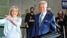 Looking good: Joe Biden and his wife Jill enjoy the moment at a gathering of supporters in Philadelphia on Tuesday. Photo: Brendan McDermid/Reuters