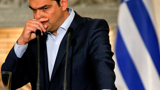 Greek PM Alexis Tsipras during a news conference with the Austrian Chancellor Werner Faymann in Athens