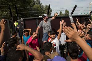 Angry migrants demand the opening of the border with Hungary near the village of Horgos, Serbia