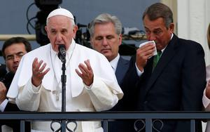 John Boehner wipes away tears as he introduces Pope Francis.