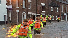 Soldiers in Ribchester assisting the emergency services Photo: PA