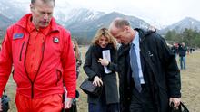 Airbus Group chief executive Tom Ender arrives in the Alps yesterday