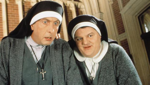 Film fun: Eric Idle and Robbie Coltrane star in the 1990 film 'Nuns on the Run'