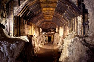 A tunnel which forms part of a subterranean system built by Nazi Germany in what is today Gluszyca-Osowka, Poland. A Nazi train loaded with gold and weapons vanished into a mountain at the end of World War II and is reported to have been found