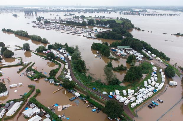 Aerial view of the flooded camping site in Roermond, Netherlands.