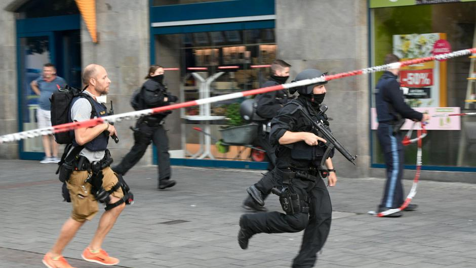 German police in action in the German town of Wuerzburg PIC REUTERS/Thomas Obermeier/Main-Post