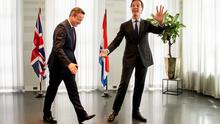 Prime Minister of the Netherlands Mark Rutte (right) welcomes  British Prime Minister David Cameron to his official residence Catshuis in The Hague, The Netherlands, yesterday.