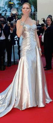Actress Uma Thurman poses on the red carpet as she arrives at the closing ceremony