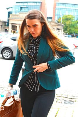Gayle Newland arrives at Chester Crown Court where she denies five counts of sexual assault.