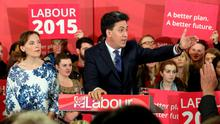 Labour Party leader Ed Miliband alongside his wife Justine Thornton as he addresses party activists at a General Election campaign stop in Pudsey, Yorkshire. Photo: PA