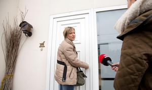 Jagger co-owner Aleksandra Lauwers talks to the media as she arrives home in Lauw, Belgium