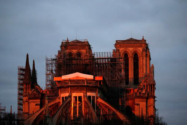 Delicate: Scaffolding still surrounds much of Notre Dame Cathedral. AP photo