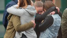 Pupils gather at the Joseph-Koenig-Gymnasium high school in Haltern, Germany, to pay tribute to 16 students and two teachers from the school who were on Germanwings flight 4U9525 that crashed in southern France