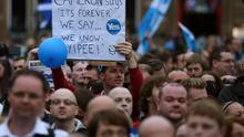 Supporters at a Yes Rally in George Square ahead of voting in the Scottish Referendum on September18th