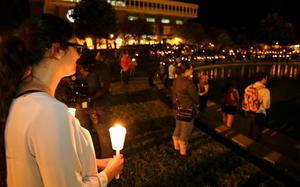 A vigil at the University of Central Florida yesterday to honour Steven Sotloff, the second American journalist to be beheaded by Islamic State militants in two weeks