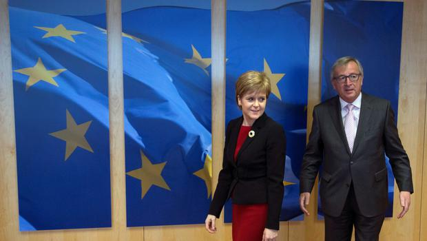 Scotland's First Minister Nicola Sturgeon (left) is welcomed by European Commission President Jean-Claude Juncker
