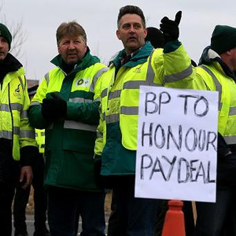 BP tanker drivers on the picket line at the Grangemouth oil refinery