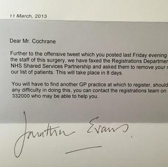 A letter sent to Mathew Cochrane from his GP surgery excluding him from the practice after he criticised staff on Twitter