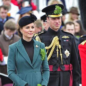 The Duke and Duchess of Cambridge visit the 1st Battalion Irish Guards to attend the St Patrick's Day Parade at Mons Barracks, Aldershot