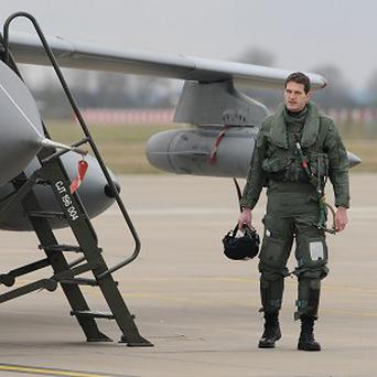 Historian and TV presenter Dan Snow prepares to fly in the 70th anniversary 'Dambuster' painted RAF Tornado jet