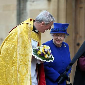 The Queen meets the Very Reverend Christopher Lewis as she arrives at Christ Church in Oxford