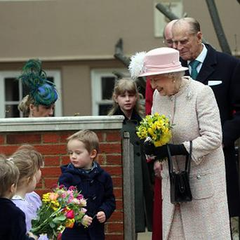 The Queen meets local children outside St George's Chapel