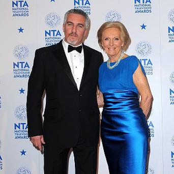 Food writer and presenter Mary Berry with celeb chef and baker Paul Hollywood