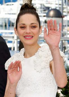 Cast member Marion Cotillard gestures as she poses during a photocall for the film