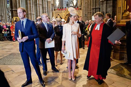 Britain's Prince William (L), Prince Andrew (2nd L) and Catherine, Duchess of Cambridge (3rd L) arrive for a service celebrating the 60th anniversary of Queen Elizabeth's coronation at Westminster Abbey in London June 4, 2013