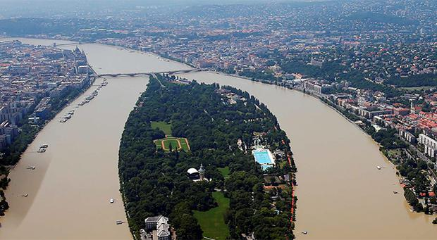 An aerial view of the swollen Danube River is pictured in Budapest