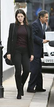 Nigella Lawson and Charles Saatchi leaving the restaurant after the incident.