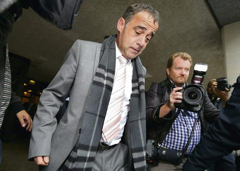 Coronation Street actor Michael Le Vell leaves Manchester Crown Court after the first day of his trial for a series of child sex offences